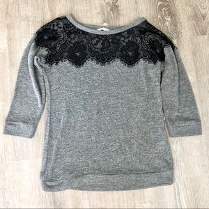 New York & Company 3/4 Sleeve Lace Detail Sweater